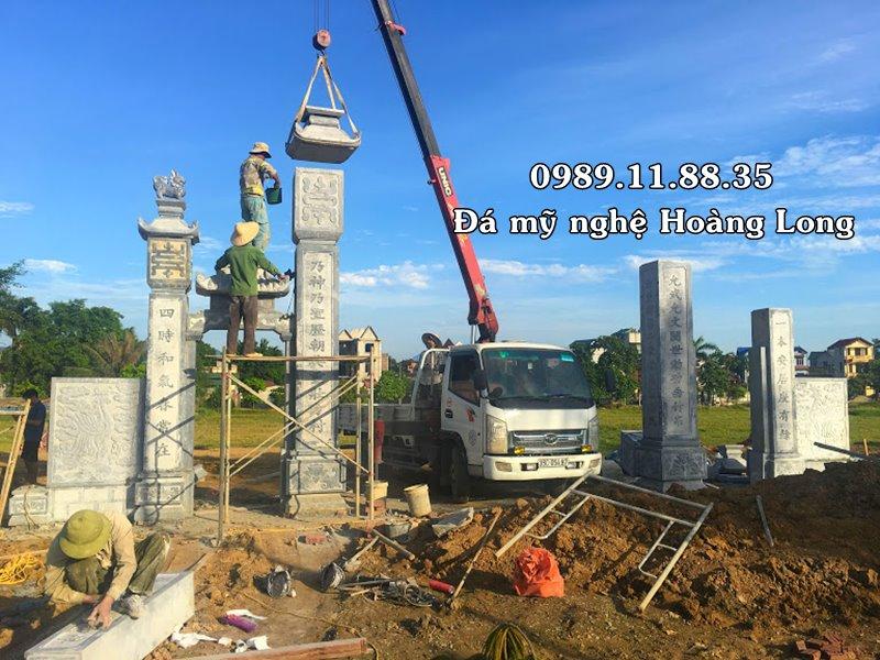 Lắp đặt cổng đá đình chùa