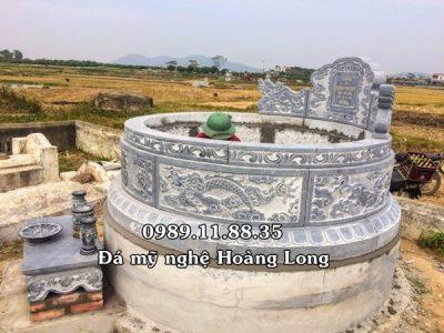Mẫu mộ đá tròn lắp đặt ở Hòa Bình