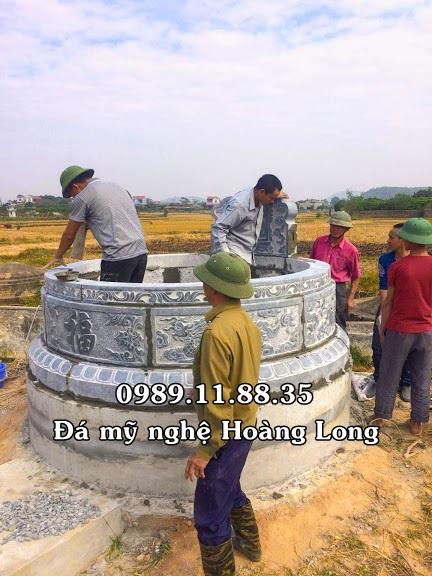 Lắp đặt mẫu mộ đá tròn đẹp nhất