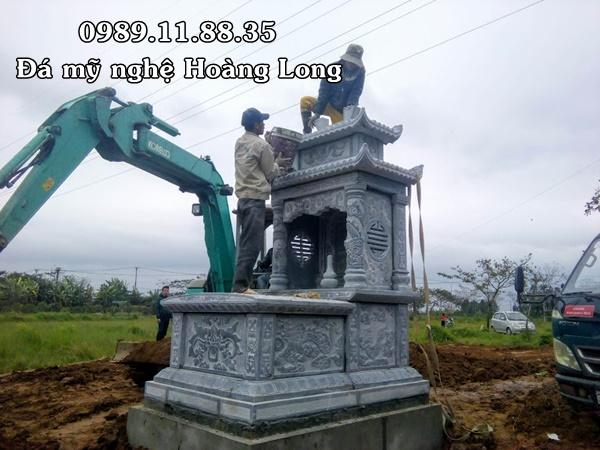 Lắp đặt mộ đá hai mái