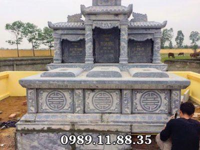 Mẫu mộ đá nguyên khối dành cho ba người