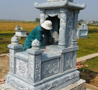 Mộ đá hai mái đẹp lắp đặt tại Sơn La