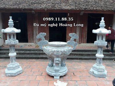 Lư hương đèn đá đình chùa