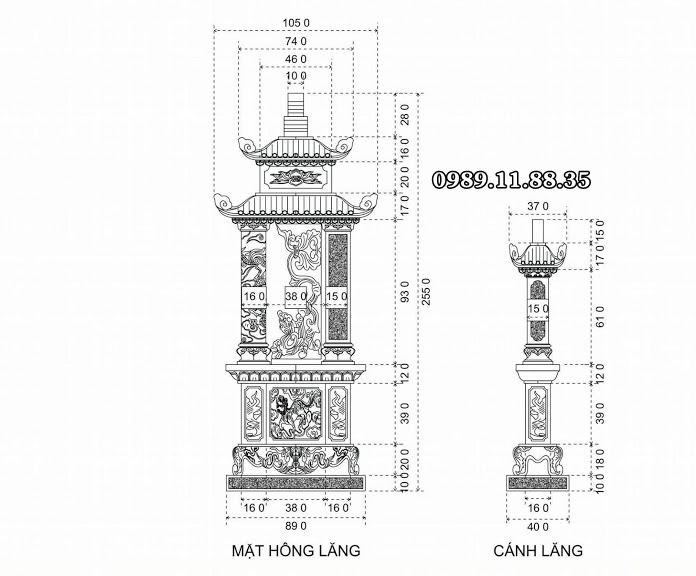 Kích thước lăng mộ Quảng Bình