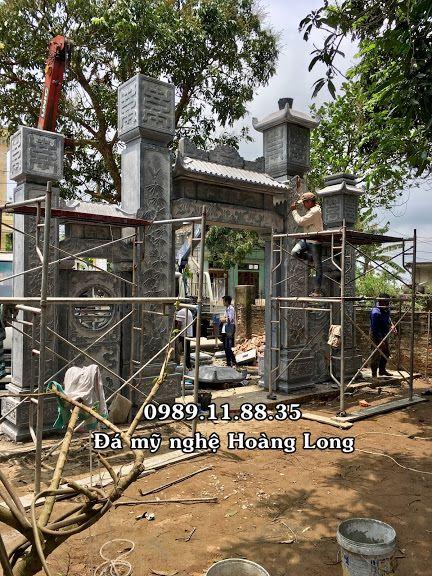 Lắp cổng tam quan đá nhà thờ họ