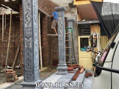 Mẫu cột đá nhà thờ họ đẹp chế tác tại Ninh Bình