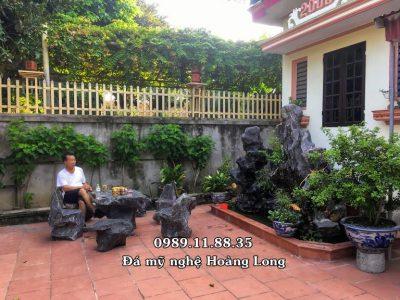 Mẫu bàn ghế đá tự nhiên lắp đặt tại Hà Nội
