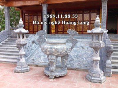Lắp đặt chiếu rồng đá, lư hương, đèn thờ tại Bắc Ninh
