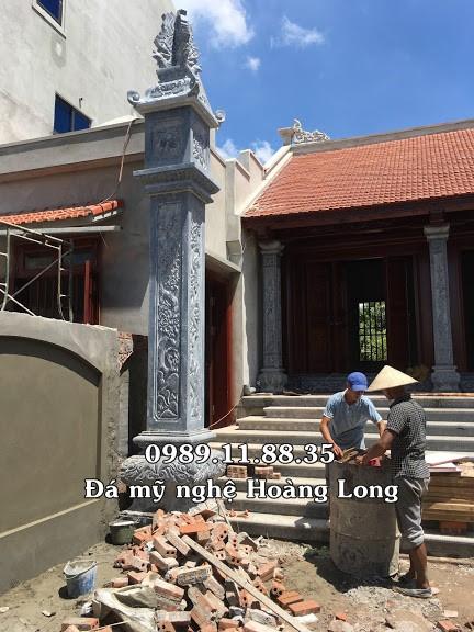 Lắp đặt cột đá nhà thờ họ