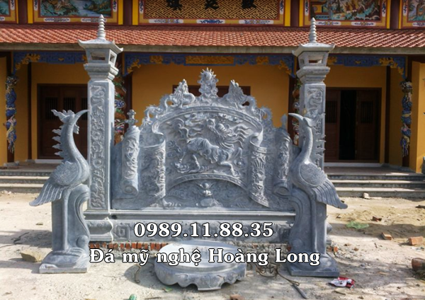 Bình phong đá tiến cúng đình chùa