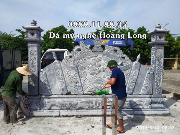 Mẫu bình phong đá đình chùa lắp đặt tại Vĩnh Phúc