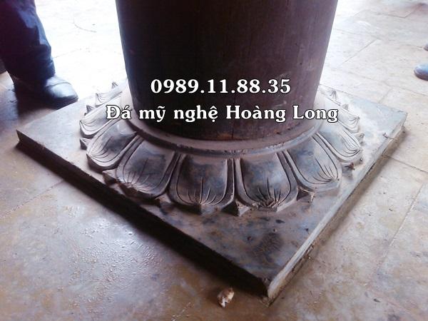 Mẫu đế kê cột bằng đá lắp đặt tại đình chùa