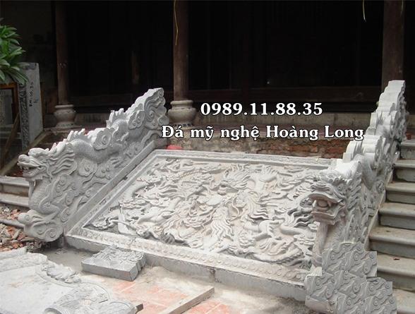 Rồng đá và chiếu rồng đá đình chùa
