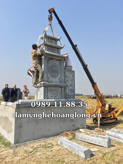 Lắp đặt lăng mộ dòng họ bằng đá